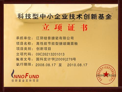 企业技术创新基金立项证书